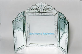 Large Venetian Three Fold Dressing Table Mirror - Etched